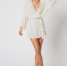 Winona Synergy White Sequin Wrap Dress