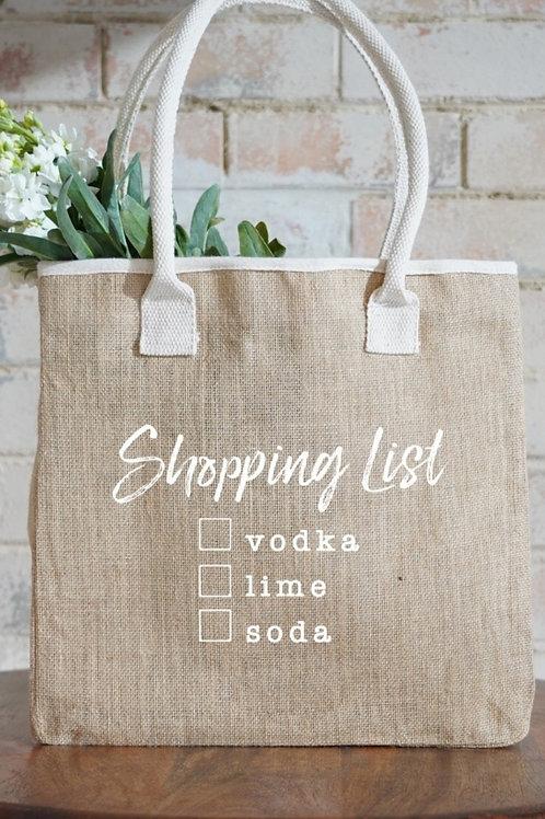 Vodka Ladies Market Shopping List Bag