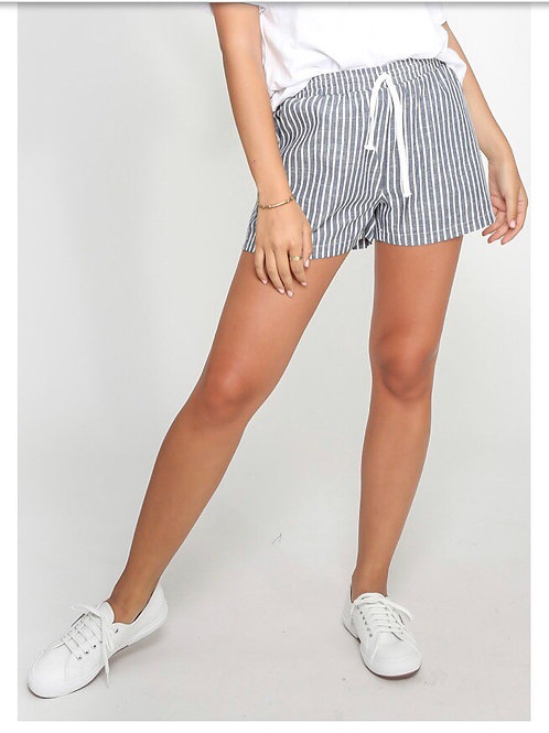 Leoni Navy Stripe Cotton Shorts