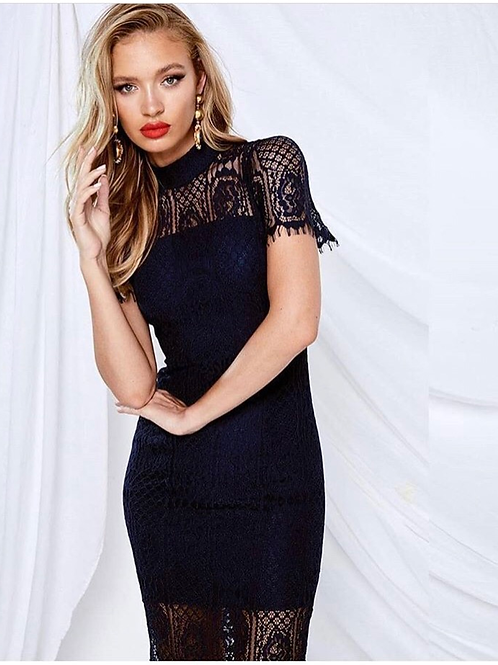 Mossman Making The Connection Black or Navy Lace Dress