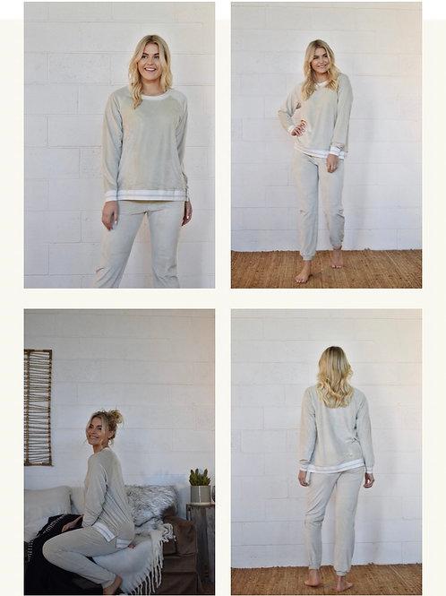 Finn Velvet Track Pant (Cream) by Homebody