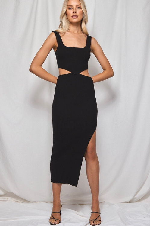 Side Cut-Out Knit Midi Black Dress