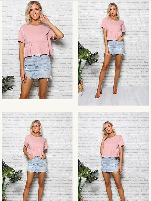 Bella Blush Swing Crop 100% Cotton