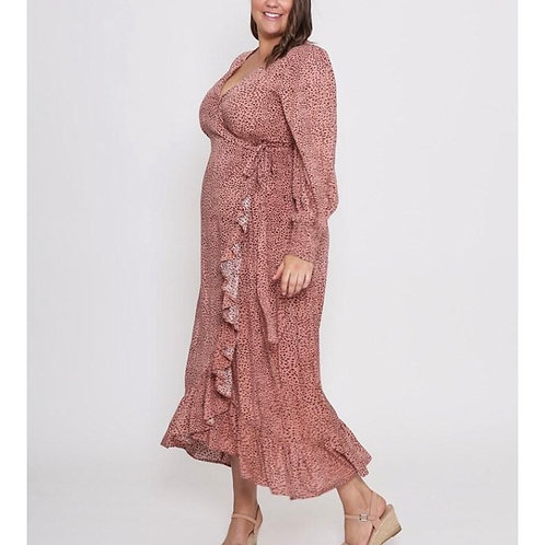 Rayon Animal Print Blush Leoni Curves Dress (16-22)
