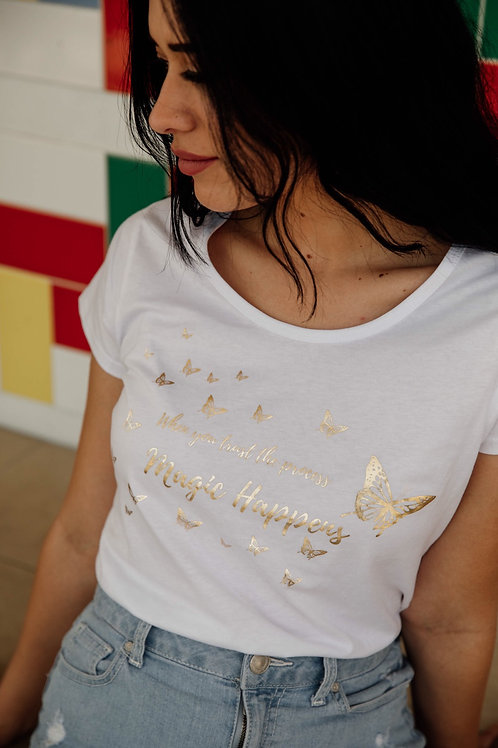 Grateful Magic Happens Cotton Tee in white or black (Butterfly Collection)