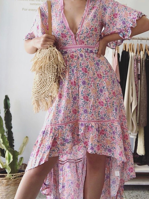 Amelia Pink Floral Cotton Maxi Dress