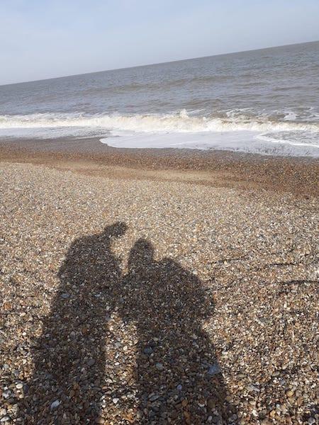 Shadows on a beach