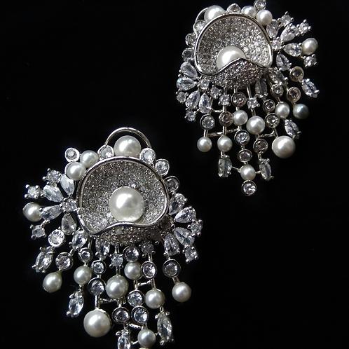 Statement Pearl CZ Earrings
