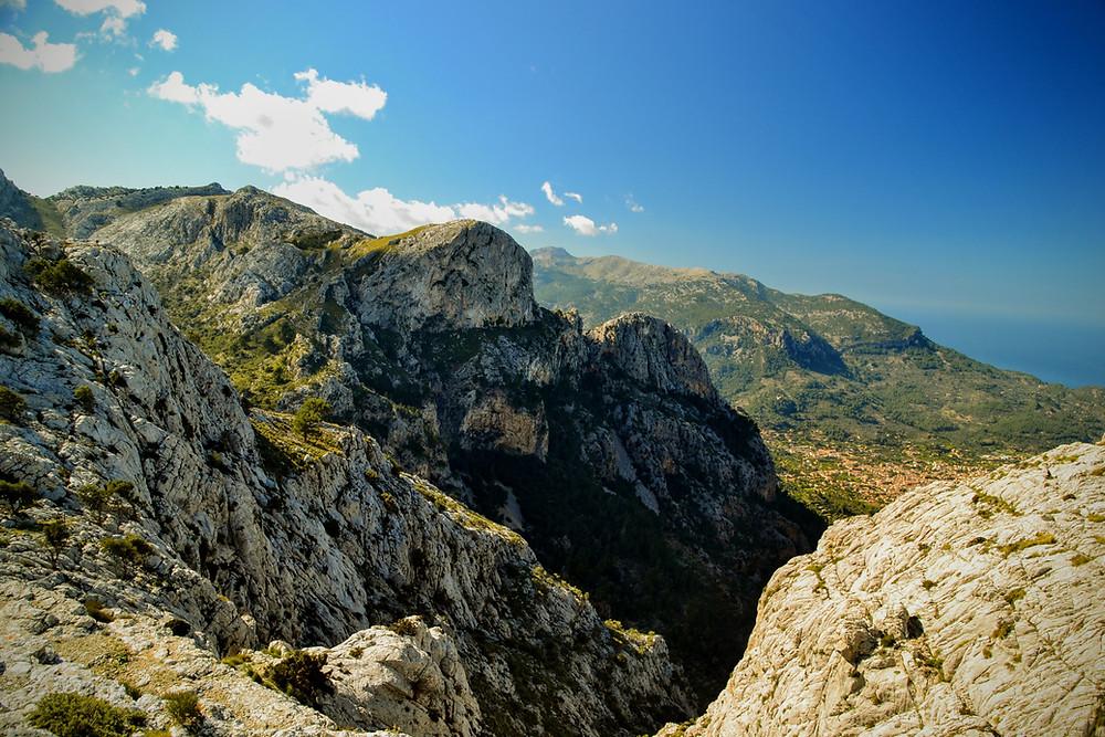 The Barranc de Biniaraix and Cornador Gran - site of our very windy adventure
