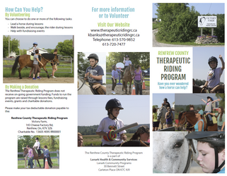 Renfrew County Therapeutic Riding Program - Brochure
