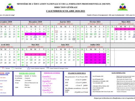 Calendrier scolaire 2020-2021 - Haïti