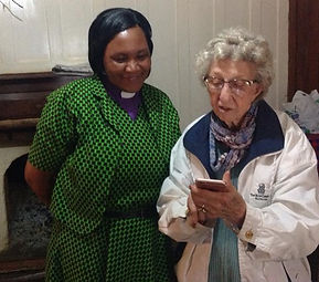 Ann Fort and Bishop Catherine checking s
