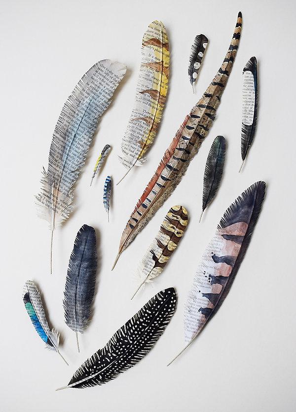 Bird feathe, paper sculpture by artist Kate Kato | Kasasagi