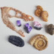 fossils, rocks, precious stones, crystal, paper sculpture by artist Kate Kato | Kasasagi