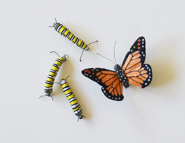 Paper insect, monarch butterfly and caterpillars by artist Kate Kato | Kasasagi
