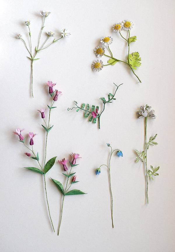 Wild meadow flowers, a botanical sculpture, paper flower by artist Kate Kato | Kasasagi