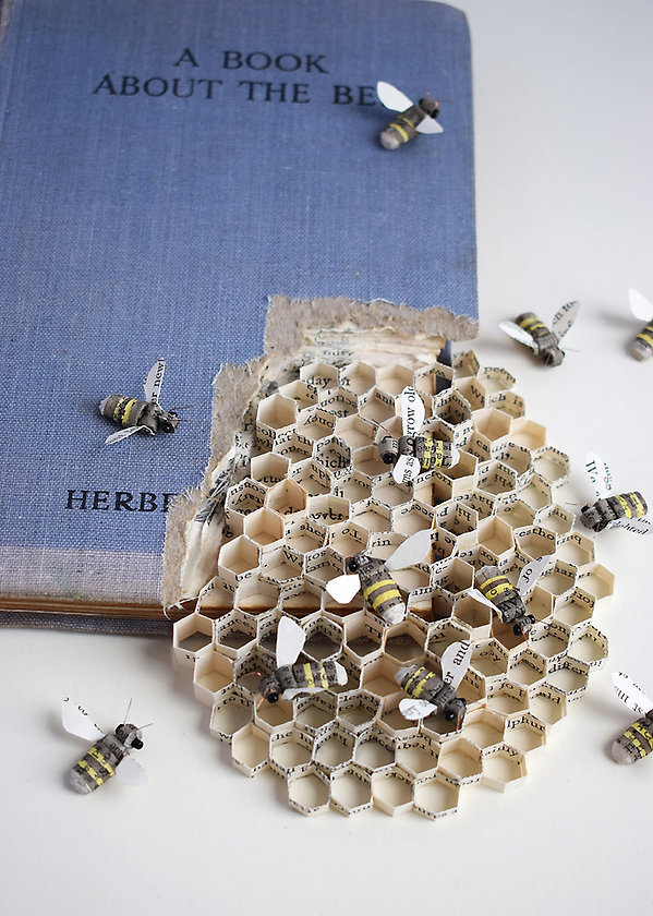 A book about the Bee, paper sculpture by artist Kate Kato | Kasasagi