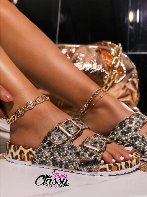 Rhinestone Leopard Slides
