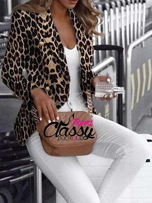 Open Leopard Blazer