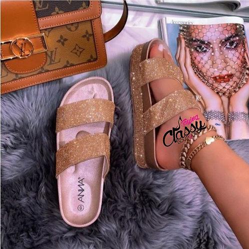 Classy Glittery Gold platform sandal
