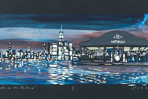 """Drinks on The Hudson"" by Ricardo Roig Hand Cut Screen Print"