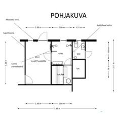 Pohjakuva khh, kylppäri, sauna, pikku wc uudistukseen