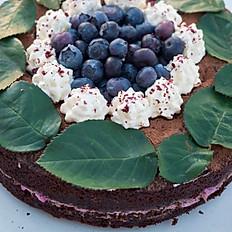 Paleo blueberry chocolate sponge cake