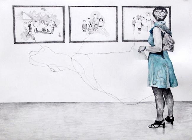 Ett år etterpå tegnet jeg denne tegningen av en betrakter fra åpningen av utstillingen.