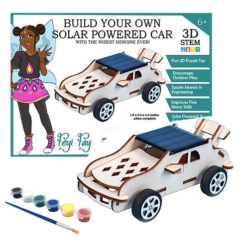 Build Your Own Solar Powered Car - 3D STEM Puzzle Toy - Feyi Fay