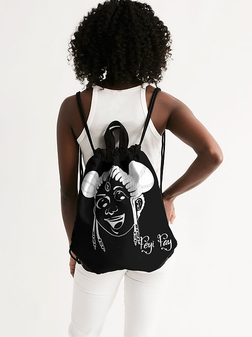 Canvas Drawstring Backpack - Black & White