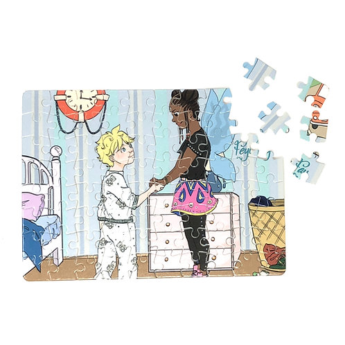 Cardboard Jigsaw Puzzle - Feyi meets Tom Color Illustration