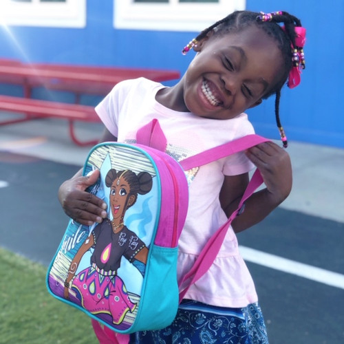 Black Girl with Children's Backpack for Kids  | African Superhero