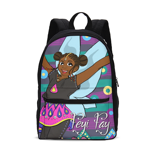Kids Canvas Backpack (Medium) - Feyi Fay on Circles & Stripes