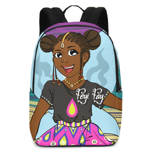 Large Backpack - Feyi Fay on Colorful Stripes
