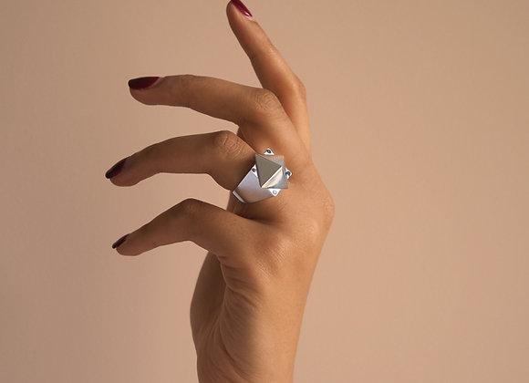 INTREPID RING SILVER RHODIUM AND BLACK DIAMOND