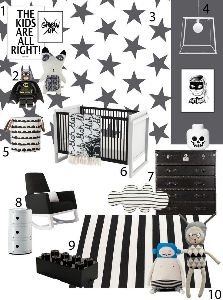 חדר ילדים בשחור ולבן