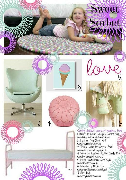 צבעי פסטל רכים בעיצוב חדר הגלידה