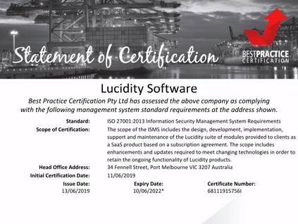 Lucidity achieves ISO27001 Information Security Management System Certification