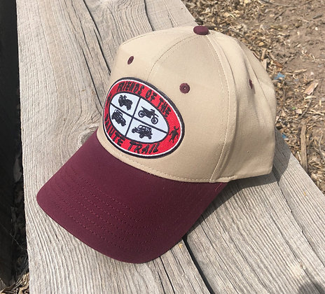 Maroon and Tan Low Profile Baseball Cap - 19-536
