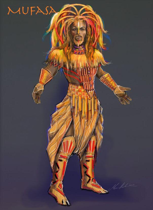 """Visuel du costume de Mufasa lors du spectacle """"Le Roi Lion et les Rythmes de la Terre"""""""