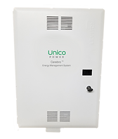 """Front of Energy Management System cabinet labeled """"Unico Power Cerebro Energy Management System"""""""