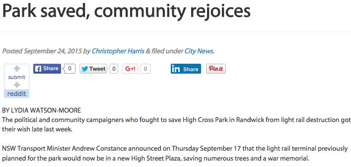 Park saved, community rejoices