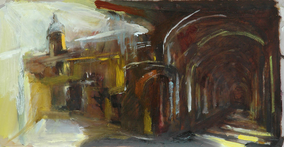 Yellow_Alley_and_Colonnade,_Mixed_Media_