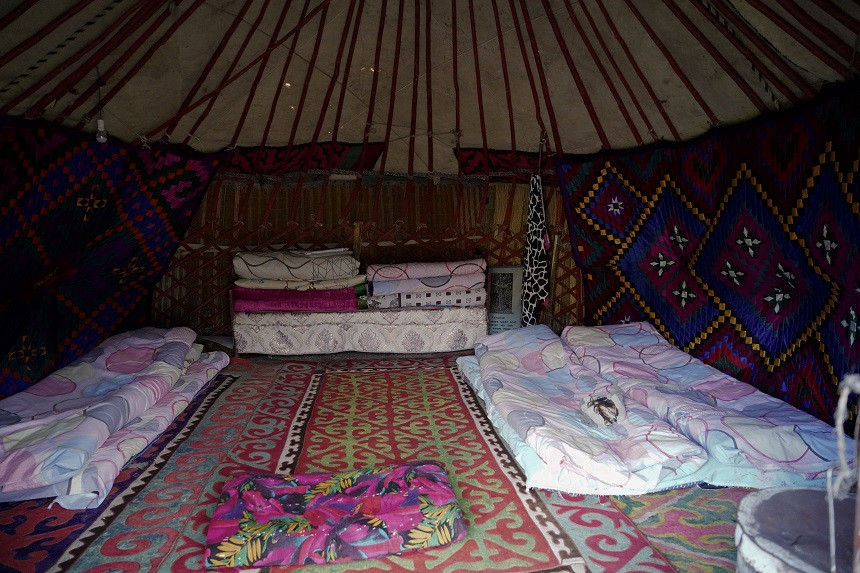 Schlafplatz in der Jurte