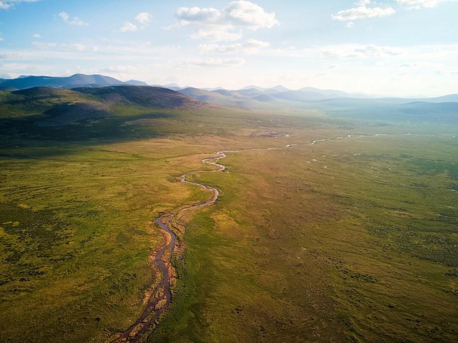 Die mongolische Hochebende und Lebensraum der Tsaatan Nomaden