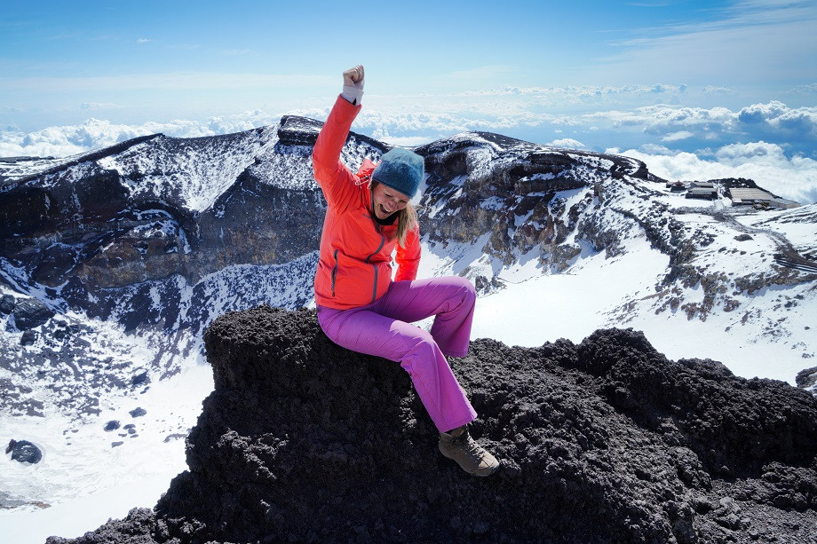 Kati auf dem Gipfel des Fuji
