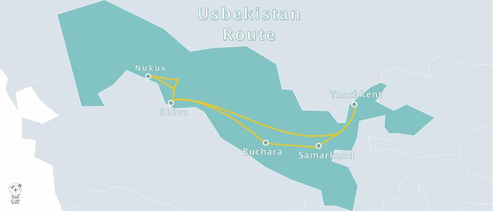 Infografik Usbekistan Rundreise Route 14 Tage