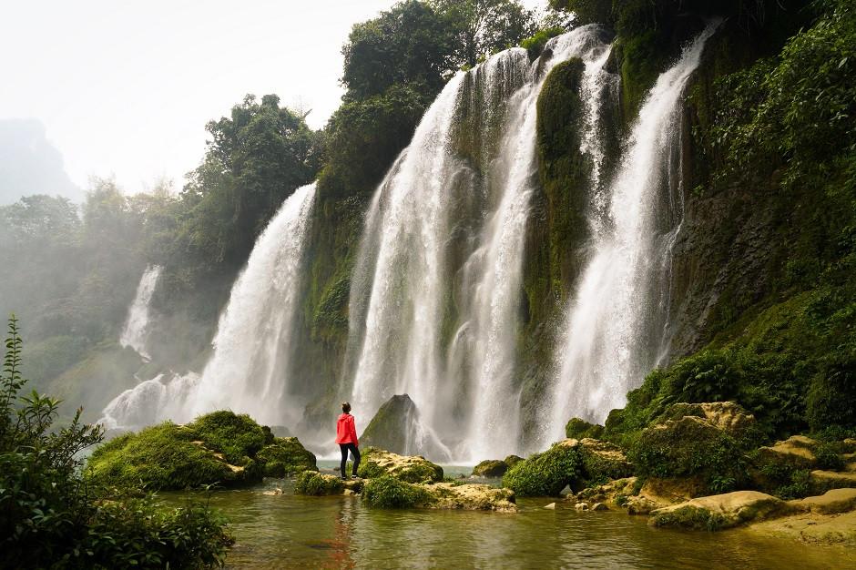 Kati am Ban Gioc Wasserfall