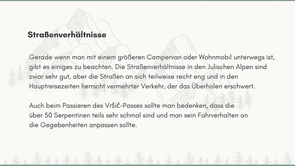 Hinweise zu Strassenverhaeltnissen in den Julischen Alpen