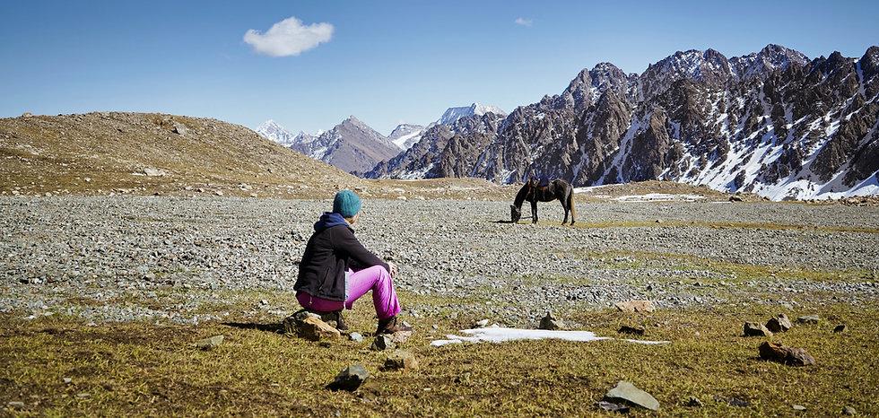 Entspannen auf einer Hochebene in Kirgis
